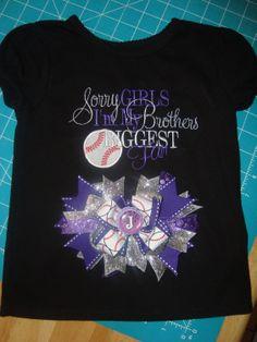 Girls Baseball shirt with matching bow. by Nannasinspirations, $32.00
