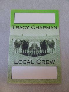 TRACY CHAPMAN satin cloth BACKSTAGE PASS tour PERRI CREW