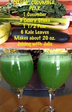 Celery cucumber and pear juice