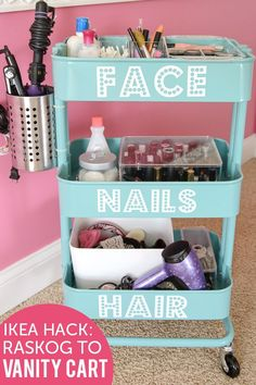 IKEA Raskog Hack, a DIY Rolling Vanity Cart with attached holder for curling or flat iron. Great for shared bathrooms room decoration How to Create an IKEA Makeup Vanity Cart an IKEA Raskog Hack