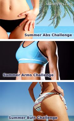 Top 3 Summer Fitness Challenges for Abs, Arms, and Booty - one Pin to get ready for Summer. #workout #skinnymsfitness