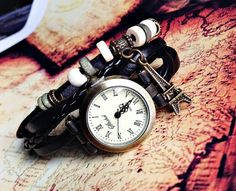 Paris Eiffel Tower Watch, Wrap Watch , Vintage Style, Charm Leather Watch, Women Watches, Beaded Watch, Black