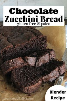 Richy and chocolaty paleo zucchini bread is made in your blender or food processor and has lots of nutritious ingredients and no refined sugar! Zucchini Bread, Food Processor, Diva, Paleo, Sugar, Zucchini Loaf, Stand Mixers, Divas, Beach Wrap