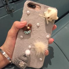 iPhone7 Plus Shell, Funny Mini Woolen Yarn Hat Cute Dog Head Doughnut Cookie Craft, Soft Fluffy Hair Ball Villi Fur Cover, OMORRO New Shiny Pearls Slim Case For Girl's Apple iPhone 7Plus Gray. Warning:There are many cheaters who use a software to follow other sellers' product listings by a very low price, in fact, they don't ship any thing, you can check if their record of feedback condition is normal? If they have their own products? Don't waste your money and time for trouble. Unique...