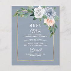Dusty Blue Blush Pink Floral Wedding Menu Cards - rustic wedding marriage love c. - Life with Alyda Floral Wedding, Rustic Wedding, Wedding Flowers, Boho Wedding, Summer Wedding, Dream Wedding, Botanical Wedding, Wedding Dresses, Wedding Menu Cards