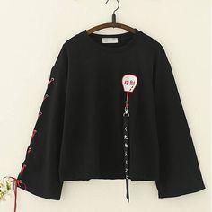 Kawaii Harajuku Lucky Fan Embroidery Strappy Sleeves Top - juwas.com online store