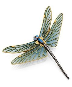 An Art Nouveau gold, silver, enamel, diamond and opal brooch, by René Lalique, early 20 century. Designed as a dragonfly with blue plique-à-jour enamelled wings, the eyes and thorax set with cabochon opals, the abdominal segments set wtih brillaint- and rose-cut diamonds, mounted in silver and gold. 8 x 8.5cm. #Lalique #ArtNouveau #brooch