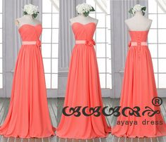 Coral long Bridesmaid DressCoral Bridesmaid by ayayadress on Etsy