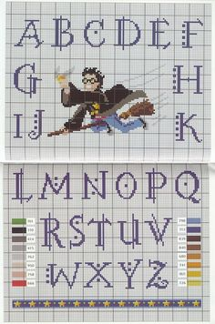 Harry Potter golden snitch cross-stitch and alphabet