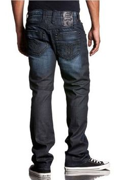 Brand new Rock Revival men jeans. Thick stitching details liberally faded and distressed straight-leg jeans branded with signature fleur-de-lis details on the pockets
