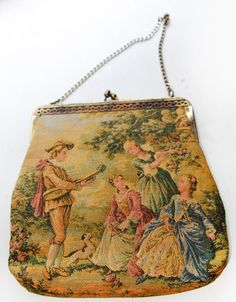 Vintage Romantic Classical Scenic Tapestry Purse