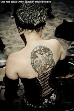 """Alfons Mucha's """"The Dance"""" back tattoo. Hope to do more Mucha on my chest soon :) Tags: Alfons Mucha * Alphonse Mucha * The Dance * La Danse * tattoo * body art * back"""