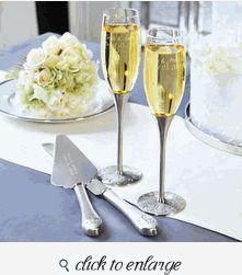 Wedding Toasting Glasses - Wedding Toasting Flutes - Silver Parisian Romance Champagne Flutes