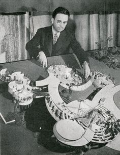 Alden B. Dow with architectural model, Interiors Magazine, Vol. 103, No. 5, Dec. 1943