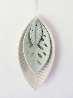 Ceramic 3 Leaf Set - White/Green SpeckledA - Renee Boyd at cleverbastards.co.nz