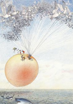 "Nancy E. Burkert, Illustration for ""James  the Giant Peach"" (1st US edition)"