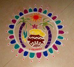 Pongal rangoli Indian Rangoli, Kolam Rangoli, Festival Decorations, Flower Decorations, Rangoli Designs For Competition, New Year Rangoli, Growing Sunflowers, Kolam Designs, Peacock Design