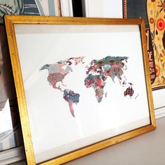 It's A Wonderful World - When you need a mental vacation, escape through this colorful map of the world. The design was inspired by fabrics and textiles found around the world for a truly international look. Your home will pop with adventure with this gallery quality art print, created using archival paper and inks.
