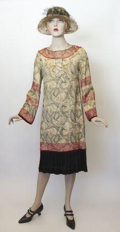 FC0401 Dress, silk brocade glass beads, silk satin skirt, unlabelled, c. 1925 - 1926 but possibly altered from an earlier 20s dress