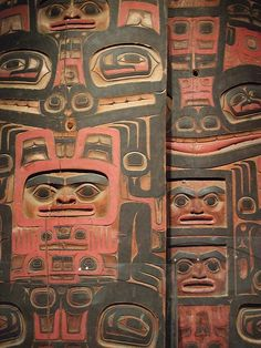 tlingit house posts (North Pacific Coast) with geometric animal patterns from Penn Museum, Philadelphia PA.