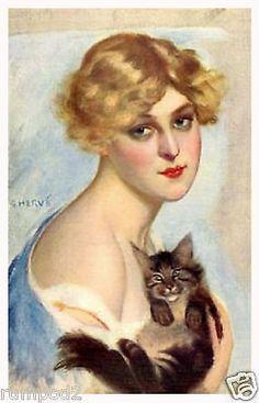 Vintage Vogue Art Poster/Woman with Cat/Art Deco Poster