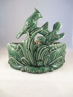 Vintage Art Pottery Bird Cardinal TV Lamp Planter Works in Collectibles | eBay