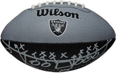 """Oakland Raiders Team Logo Mini Football by Wilson. $12.95. NFL Team Logo Mini Football-Oakland Raiders. Great for play on any surface. Pee Wee sized swen rubber team logo football. This Wilson® NFL® team logo mini football is perfect for some pre-game tailgating fun. The top of the team-colored football is decorated with the team graphics, while the bottom of the ball features """"play arrow"""" graphics.. Save 35%!"""