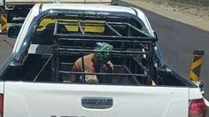 A white farmer who forced a pregnant woman to ride in a cage on the back of his truck has shown