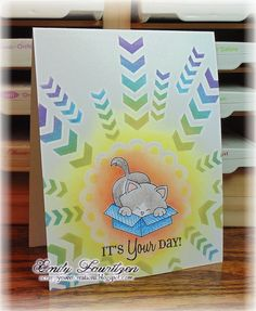 Scrappy Sweet Creations: One Layer kitty card | Cat in Box stamp | Newton's Antics Stamp set by Newton's Nook Designs