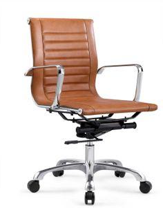 bureaustoel 225,- bruin leer nieuw Bureaustoel Tessel - Bruin - Lage rug - Echt Rundleer - Rob & Ruby
