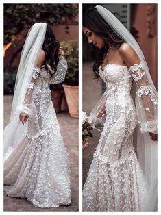 150 stunning long sleeve wedding dresses for brides -page 26 Stunning Wedding Dresses, Dream Wedding Dresses, Boho Wedding Dress, Bridal Dresses, Wedding Gowns, Long Sleeve Wedding, Wedding Dress Sleeves, Pretty Quinceanera Dresses, Dream Dress