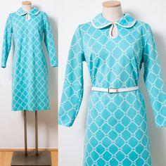 Mod Dress Vintage Turquoise Dress 60s Dress Mad Men Dress