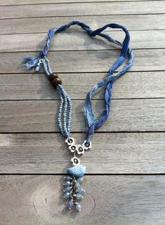 A great use of sari silk here in this beautiful necklace by Ellen.