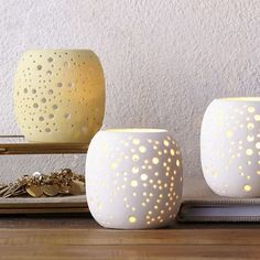 Pierced Porcelain Tealights from West Elm — Faith's Daily Find 07.04.14   The Kitchn