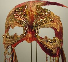 Gold Pan Velvet Masquerade Mask by leopardsleap by leopardsleap, $89.00