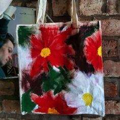 I painted the back of my @Hive Shrewsbury tote bag #floral #customised