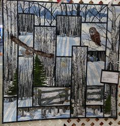Chatterbox Quilts Chitchat: Central Alberta Quilters' Guild Quilt Show 2013 Owl Quilts, Bird Quilt, Animal Quilts, Applique Quilts, Wildlife Quilts, Landscape Art Quilts, Landscapes, Landscape Design, Attic Window Quilts