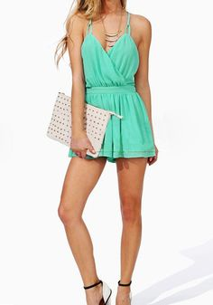 Jumpsuits and Rompers Collection: This mint surplice romper is the perfect piece to spice up your spring wardrobe. It'll surely give collection a dose of casual elegance with surplice cut and open back supported by two adjustable shoulder straps.