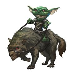 Male Goblin Worg Rider - Pathfinder PFRPG DND D&D 3.5 5th ed d20 fantasy