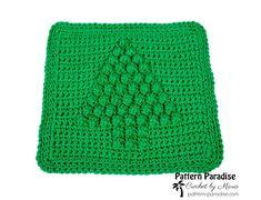 Free Crochet Pattern: Christmas Tree Dish Cloth   Pattern Paradise