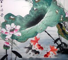 Oriental Asian Art Chinese Painting Fengshui Goldfish Lotus Flowers 23x25 | eBay