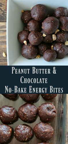no-baked healthy peanut butter chocolate energy bite recipe. Make these energy balls to enjoy before exercise or for a healthy snack. These are perfect to take on the go. I think they taste just like a peanut butter cup but better. Sweetened only with Medjool dates.