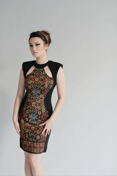 A combination of modern and traditional fabric creates a unique look to this… Batik Kebaya, Batik Dress, Love Fashion, Womens Fashion, Fashion Design, Batik Fashion, Ethnic Dress, Traditional Dresses, Traditional Fabric