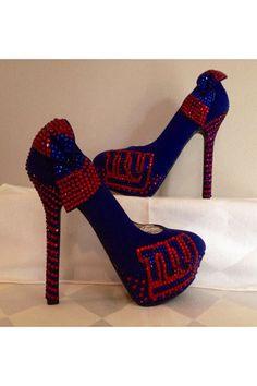 Custom heels New York Giants heels ny giants by Blingshoeshop