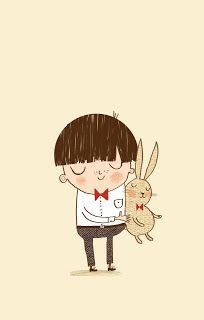 Alex T. Smith: Bunny Hug. 'Inspired by the little rabbit toy my big brother bought for me the day I was born. He's quite tatty now and lives a quiet life on my book shelf.'