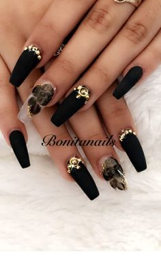 5 Gorgeous Black Nail Designs with Rhinestones Only for you Check them out! is part of nails - Here we have got some lovely and adorable nail art designs where you can get your desired design for yourself Have a look! Black Nail Designs, Cute Nail Designs, Black Nail Art, Black Nails, Matte Black, Black White, Halloween Nail Designs, Halloween Nails, Creepy Halloween