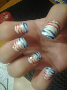 Red white blue and silver zebra nails with star gem