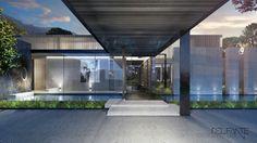 New Contemporary Constantia home_ Entrance_Del Fante Design Architects_ Cape Town Contemporary design House #Architecture #Contemporary #Entrance #DarkGreyHouse #OffShutterConcrete #PorteCouchere