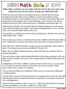Building Skills at Home - Parent Handouts FREE - Build Math Skills at Home - Teachers Pay Teachers
