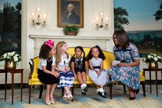 "June 22, 2016 ""A nice moment captured by Amanda Lucidon as the First Lady interacted with, left to right, Emma Belle Gaskins, Jill McCormick, Zoe Abigail Rogers and Avery Parlier during 'Cosmopolitan Couch Talk' in the Diplomatic Reception Room of the White House."" (Official White House Photo by Amanda Lucidon)"